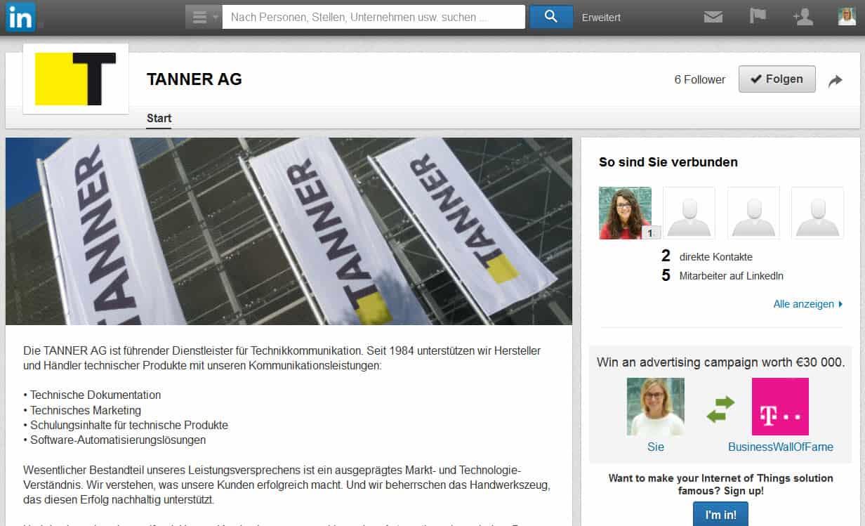 LinkedIn-Profil der TANNER AG