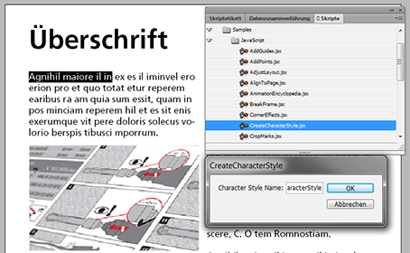 Bild Skripte in Indesign Create Charakter Style