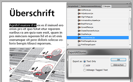 Bild Skripte in Indesign Export all Stories
