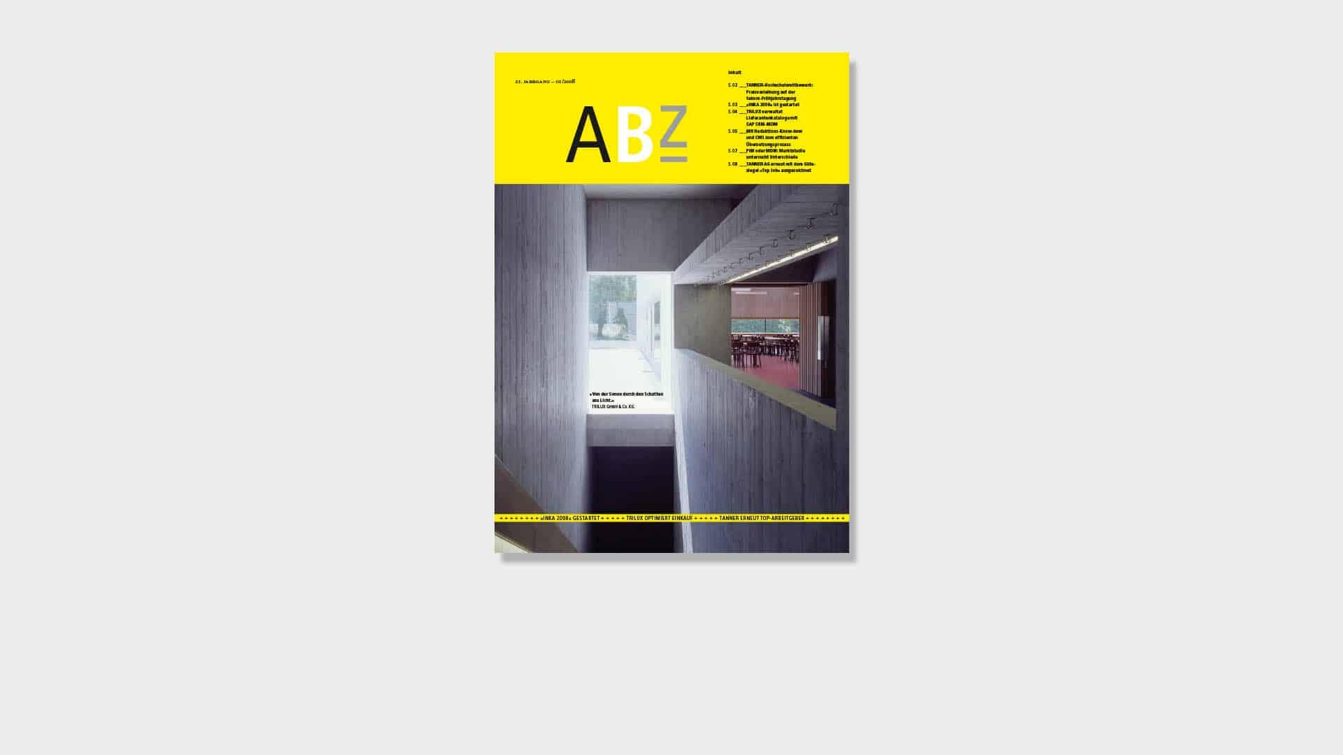 Titelseite des ABZ Kundenmagazins von Tanner