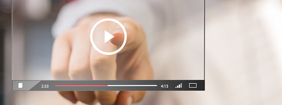 Finger zeigt auf Media Player für interaktive E-Learnings