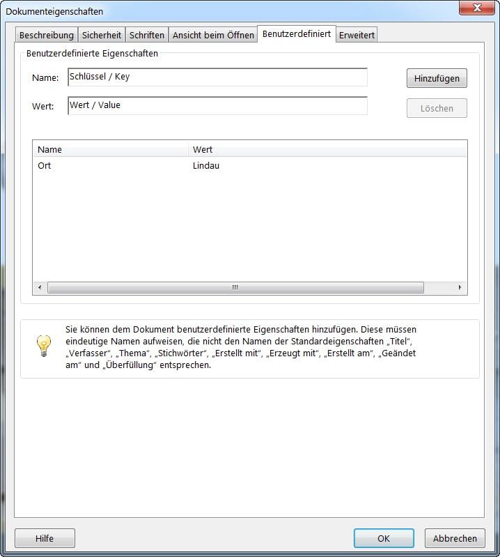 PDF-Fenster Reiter Benutzerdefiniert