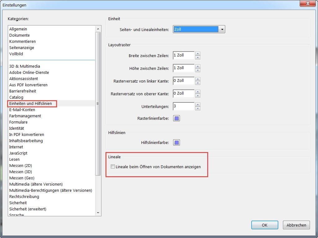 PDF-Einstellungen für Einheiten (Zoll), Hilfslinien und Lineale