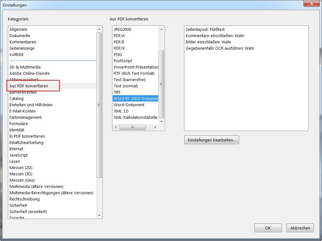PDF-Einstellungen aus PDF konvertieren