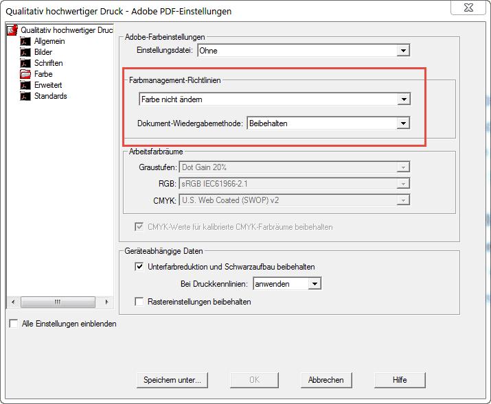 Screenshot Qualitativ hochwertiger Druck