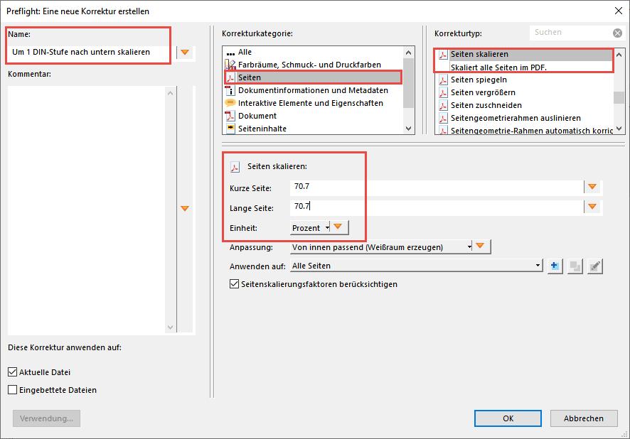Preflight-Korrektur DIN-Stufe